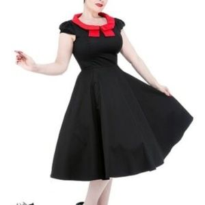 Hearts & Roses Black Swing Dress SZ 6 9227-B/R